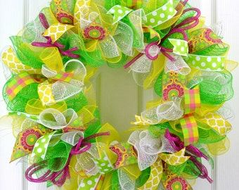 Spring Summer Wreath Door YELLOW LIME GREEN White Pink Fuchsia Polka Dot Chevron Flower Quatrefoil Mesh Ribbons