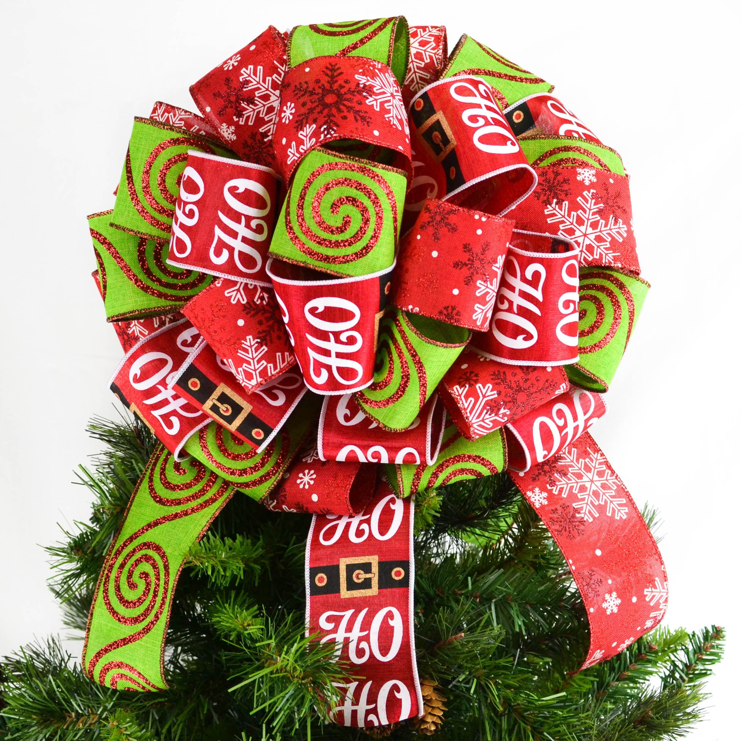 Santa Christmas Tree Topper Bow Red And Lime Green Gift Or Present Bow Santa Bow For Top Of Christmas Tree Lantern Bow