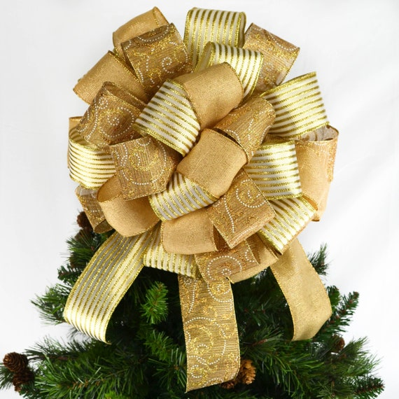 Christmas Tree Bow.Solid Gold Christmas Tree Bow Topper Big Gold Bow For Gift Or Present Bow For Top Of Tree