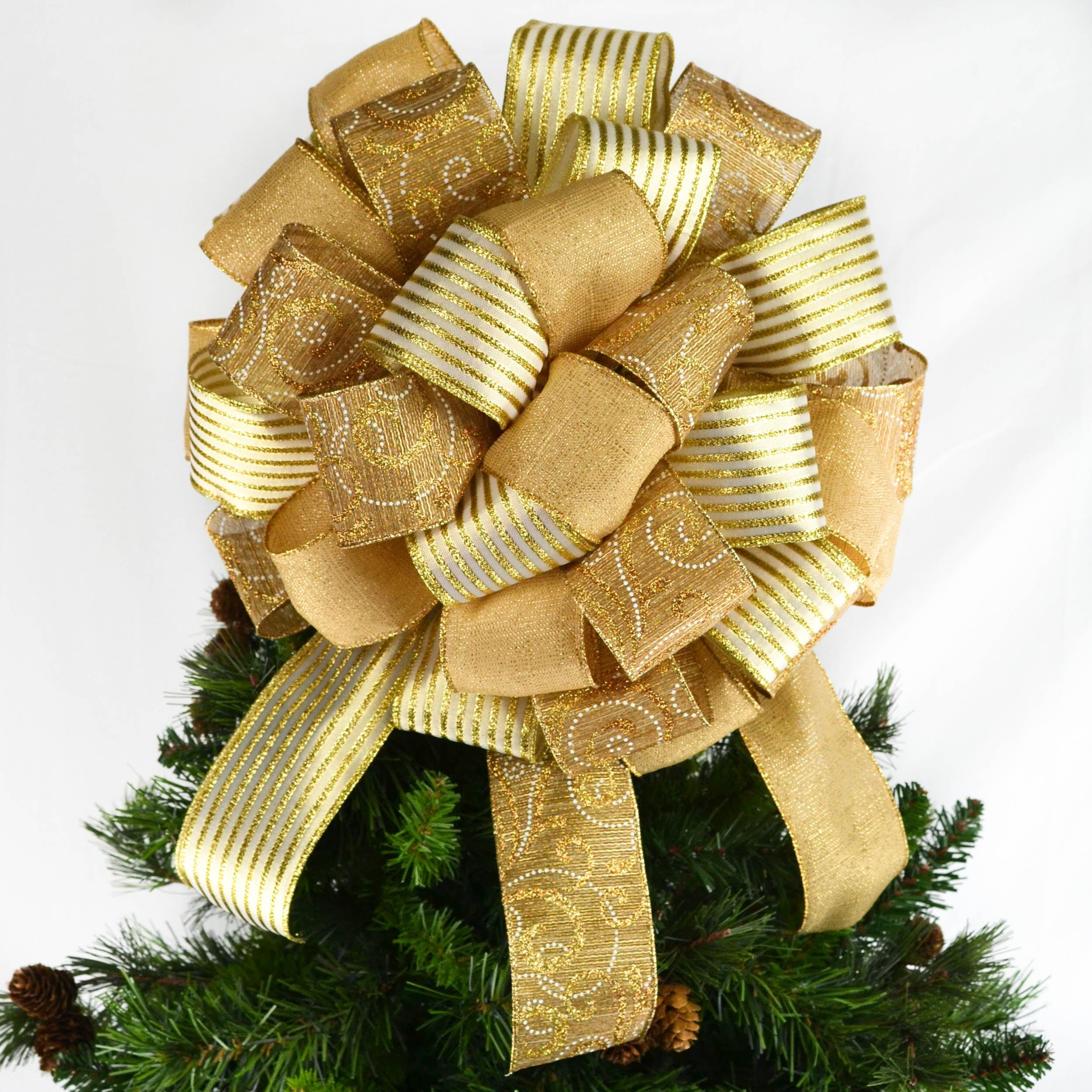 Solid Gold Christmas Tree Bow Topper Big Gold Bow For Gift Etsy
