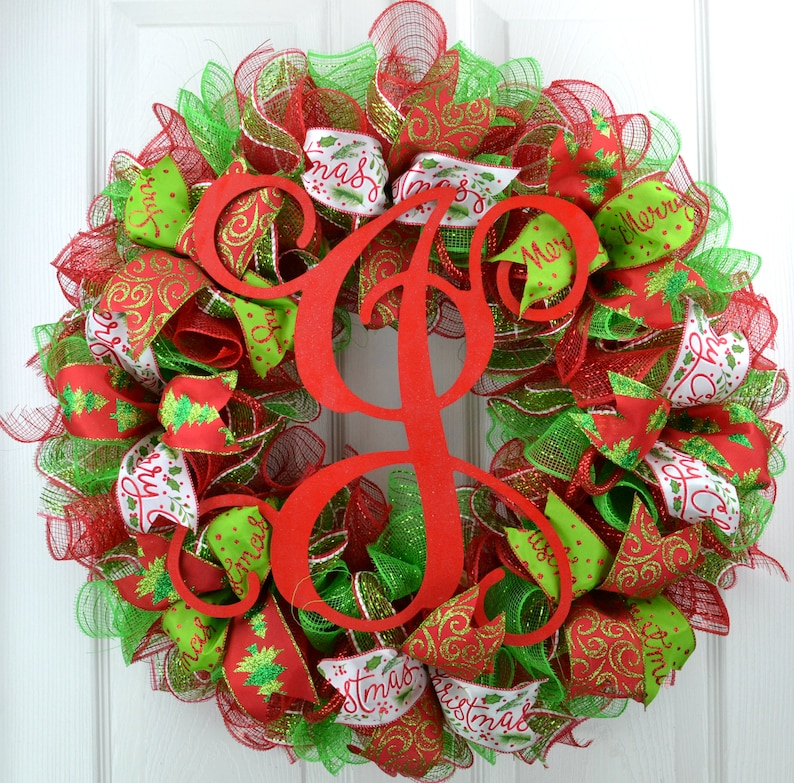 Red and Lime Green Traditional Mesh Christmas Front Door Wreath