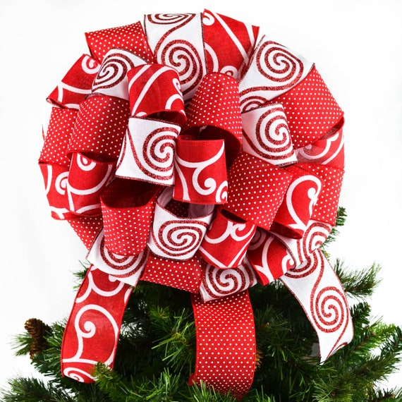 Candy Cane Christmas Tree.Candy Cane Christmas Tree Topper Bow Red And White Christmas Decor Peppermint Top Of Christmas Tree