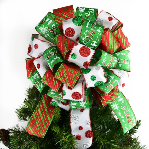 Red White And Emerald Green Christmas Tree Bow Topper With Etsy
