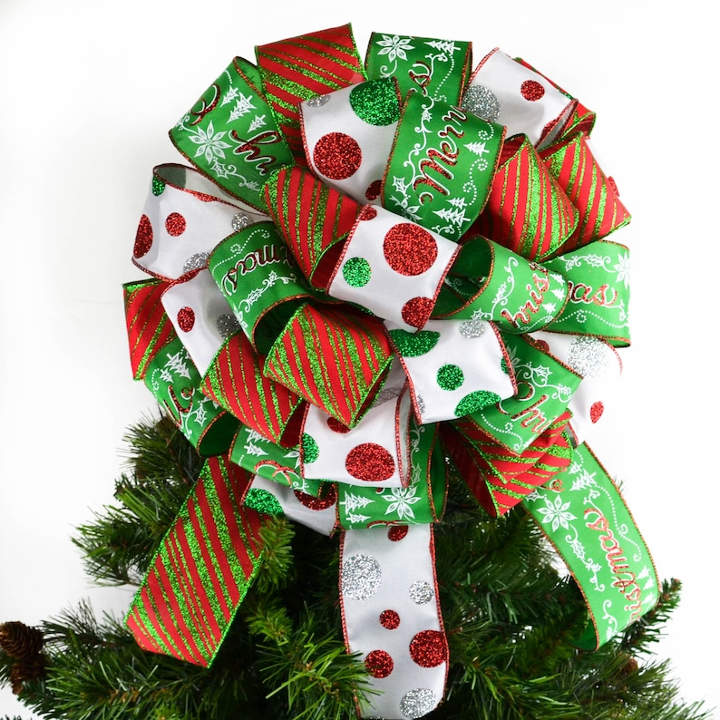 Red White And Emerald Green Christmas Tree Bow Topper With Tails Present Or Gift Bow