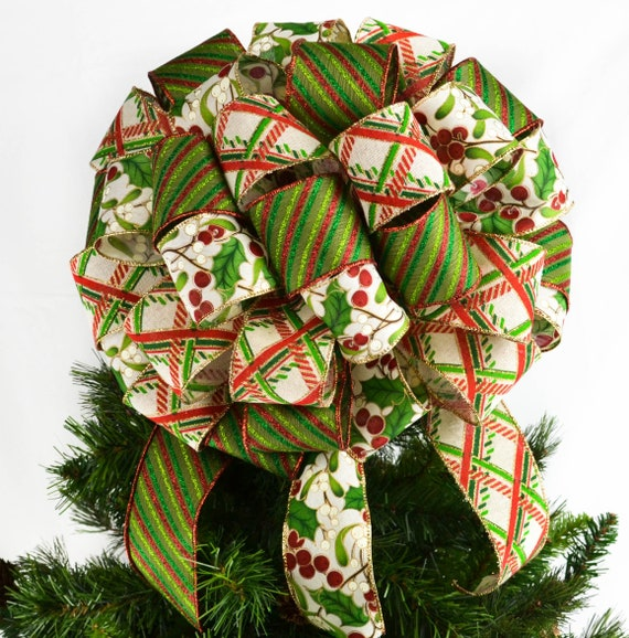 Lime Green Red White Christmas Tree Bow Topper Big Bow For Etsy