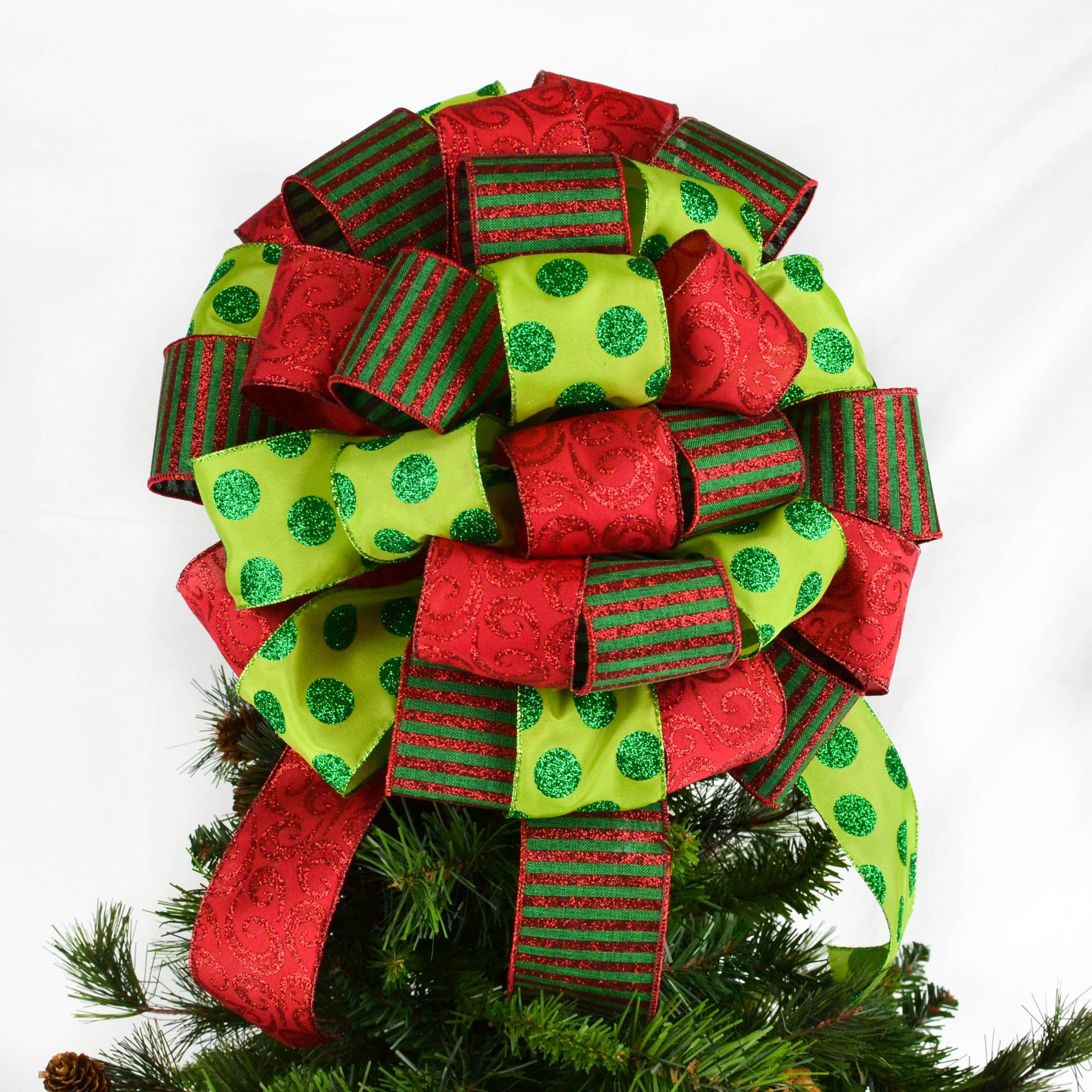 Emerald Red And Lime Green Christmas Tree Bow Topper Present Etsy