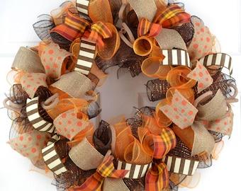 Fall Thanksgiving Deco Mesh Front Door Wreath - Orange Brown Burlap Wreath for Fall