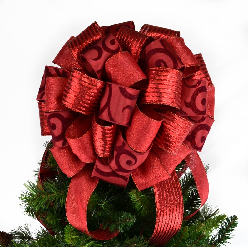 Large Solid Red Christmas Tree Topper Red Christmas Present Or Gift Bow