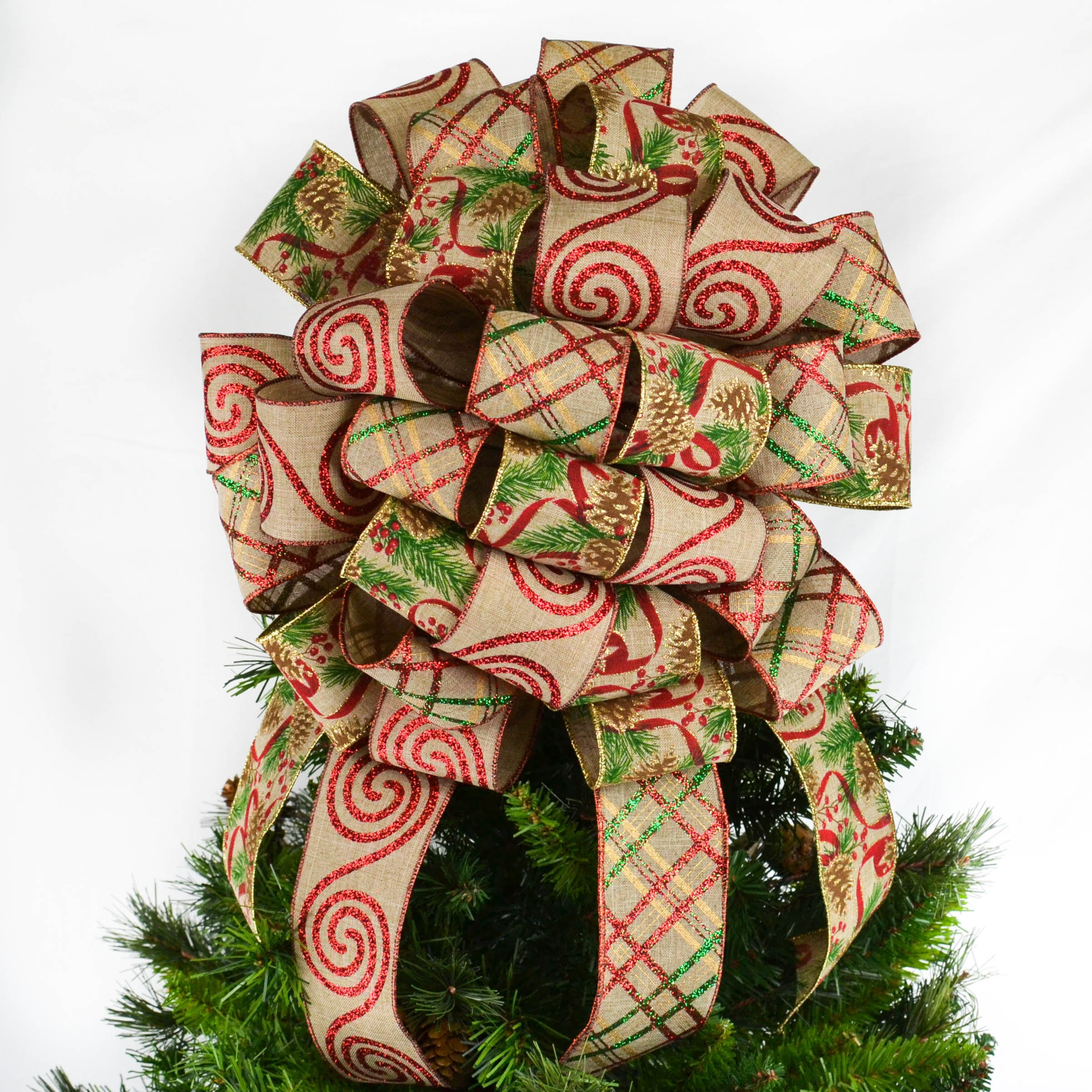 Christmas Tree Bow With Streamers Holiday Tree Topper Bow Etsy