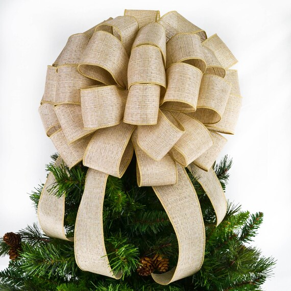 Solid Burlap Christmas Tree Bow Topper Natural Christmas Etsy