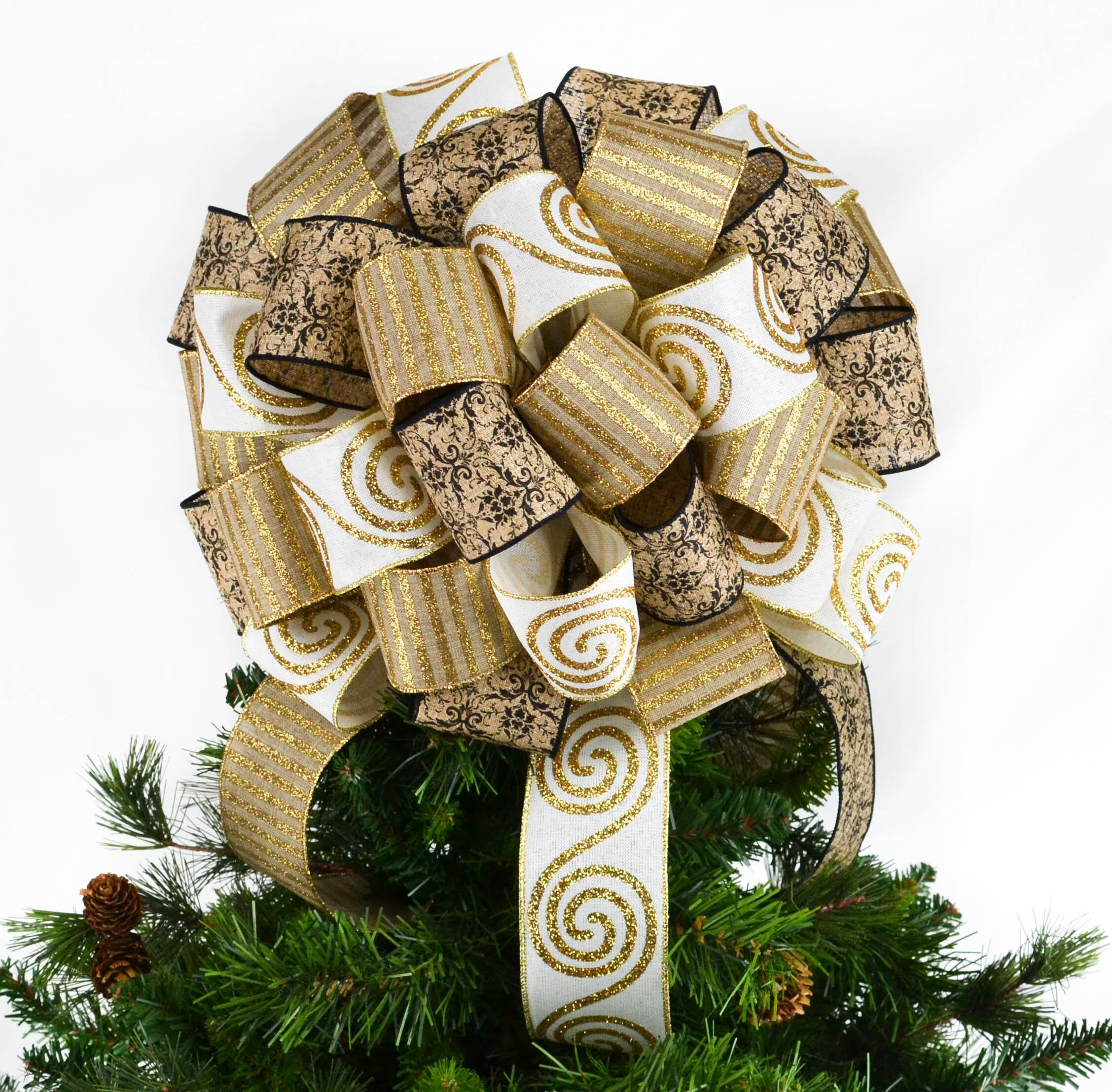 Burlap Ivory And Gold Christmas Tree Bow Topper Christmas Etsy