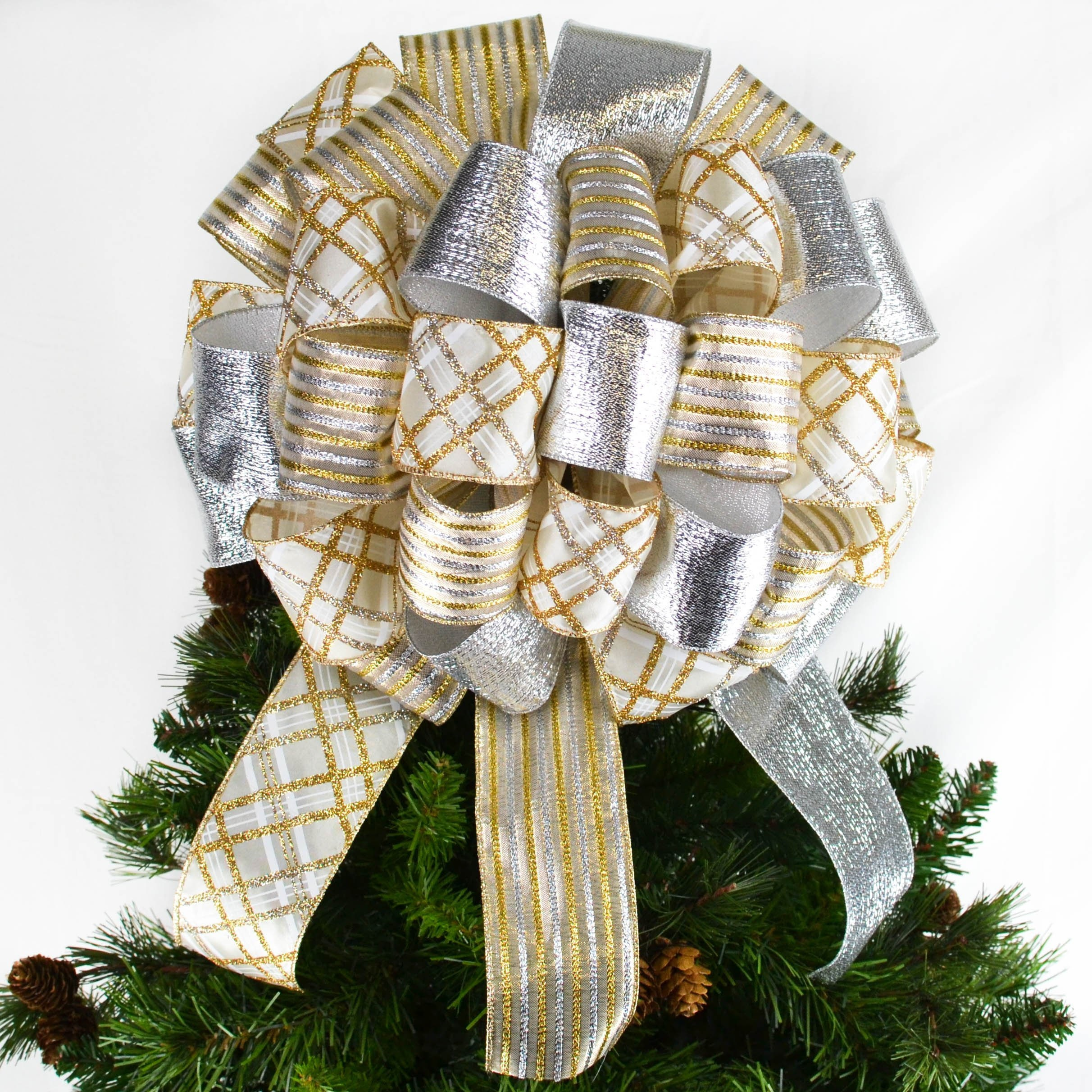 Gold And Silver Christmas Tree Bow Topper Large Present Or Etsy