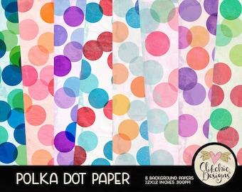 Polka Dot Digital Paper Pack - Shabby Polka Dot Digital Scrapbook Paper, Dotty Background Textures, Digital Scrapbooking Paper Pack