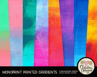 Painted Digital Paper Pack - Monoprint Grunge Painted Gradient Digital Scrapbook Paper, Painted Background Textures, Scrapbooking Paper Pack