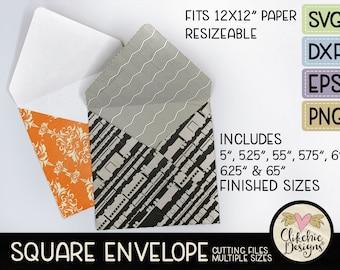 "Square Envelope SVG Cutting File, 7 sizes 5-6.5"" Square Envelope Template Cut File, PNG Template, DXF Envelope, Cutting Template, 12x12"""