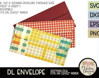 """Slimline DL Envelope SVG Cutting File, DL Envelope Template Cut File, Png, Dxf Envelope Template, Eps File, Fits 12 x 12"""" Paper"""
