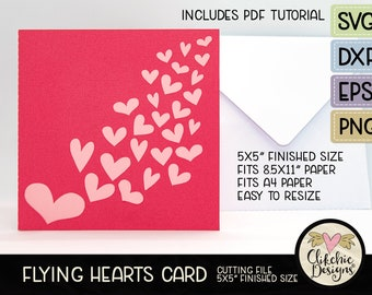 """Love Hearts Card SVG Cutting File, 5"""" Square Flying Hearts Card Cut File, Dxf Card, EPS, Handmade Valentine Hearts Card & Pdf Tutorial"""