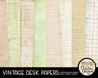 Vintage Digital Paper Background Texture Pack - Vintage Paper Pack, Digital Scrapbook Paper Backgrounds, Shabby Vintage Grunge Papers
