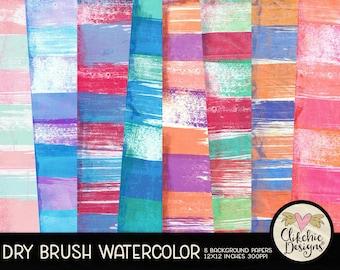 Watercolor Digital Paper Pack - Dry Brush Watercolor Digital Scrapbook Paper, Watercolor Background Textures, Digital Scrapbooking Paper