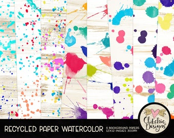 Watercolor Digital Paper Pack - Recycled Craft Paper Watercolor Digital Scrapbook Paper, Watercolor Background, Digital Scrapbook Paper Pack