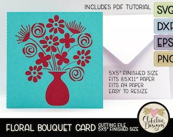"Floral Bouquet Card SVG Cutting File, 5"" Square Floral Bouquet Card Cut File, Dxf Card, EPS, Handmade Floral Bouquet Card & Pdf Tutorial"