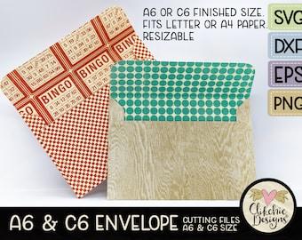 A6 Envelope SVG Cutting File, C6 Envelope Template Cut File, PNG Template, DXF Envelope, Cutting Template, Eps File, Fits Letter & A4 Paper