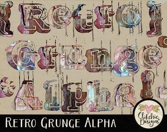 Grunge Alpha, Grunge Digital Scrapbook Alphabet Clip Art - Retro Grunge Digital Alpha - Digital Alphabet, Digital Letters, Scrapbook Alpha
