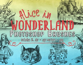 Alice In Wonderland Clip Art & 36 Vintage Photoshop Brushes, .eps Vectors and Digital Stamps Clipart Illustrations