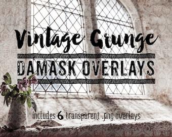 Vintage Damask Overlays Clip Art - Vintage Damask Photo & Digital Overlays - Art Photography Overlays, Grunge Overlays, Digital Scrapbook