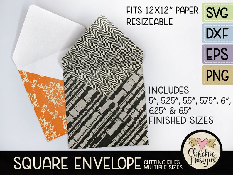 Square Envelope SVG Cutting File 7 sizes 5-6.5 Square image 0