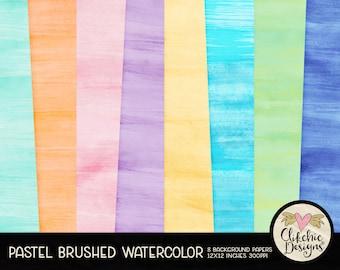 Watercolor Digital Paper Pack - Pastel Brushed Watercolor Digital Scrapbook Paper, Watercolor Background Textures, Digital Scrapbooking