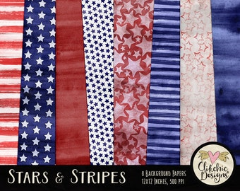 Digital Paper Pack - Stars & Stripes, Fourth of July Digital Scrapbook Papers - Independence Day Background Textures - Watercolor Paper Pack