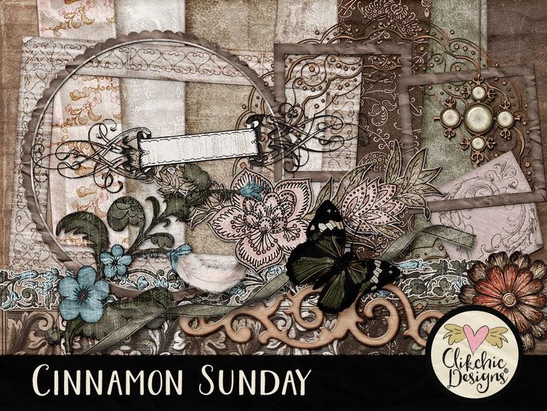 Vintage Digital Scrapbook Kit Clip art  Cinnamon Sunday  image 0
