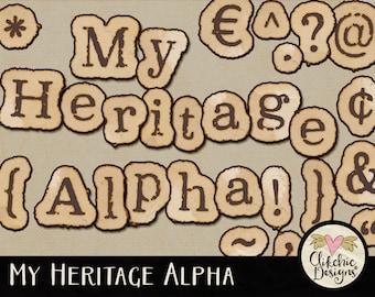 Digital Scrapbook Alpha ClipArt - My Heritage Vintage Paper Style Digital Alphabet - Aged Digital Alpha Clip art, Digital Letters