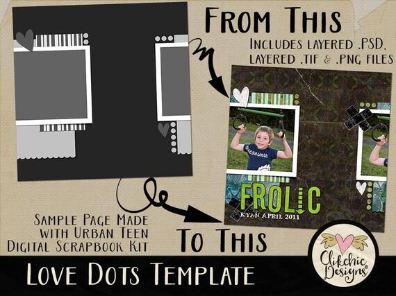 layered template love dots 12x12 layered digital scrapbook etsy