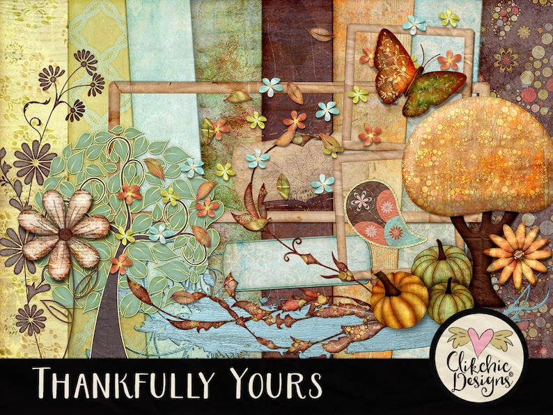 Fall Digital Scrapbook Kit Clipart  Thankfully Yours  Autumn image 0