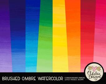 Watercolor Digital Paper Pack - Ombre Watercolor Digital Scrapbook Paper, Watercolor Background Textures, Digital Scrapbooking Paper Pack