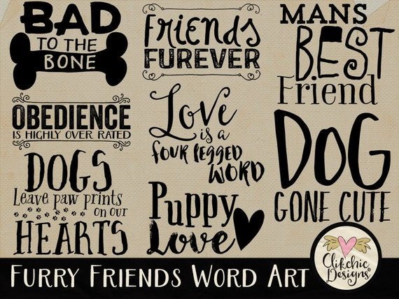 Dog Word Art Clipart For Digital Scrapbooking Card Making Etsy