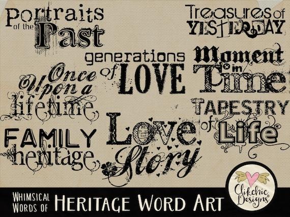 family heritage word art clip art digital scrapbook word