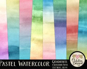 Watercolor Digital Paper Pack - Pastel Water color Paint Gradient Textured Digital Scrapbook Paper, Watercolor Paper Pack