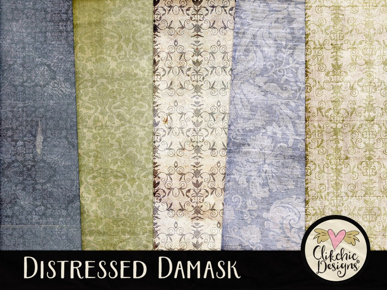 Damask Digital Paper Pack  Distressed Digital Scrapbook Paper image 0