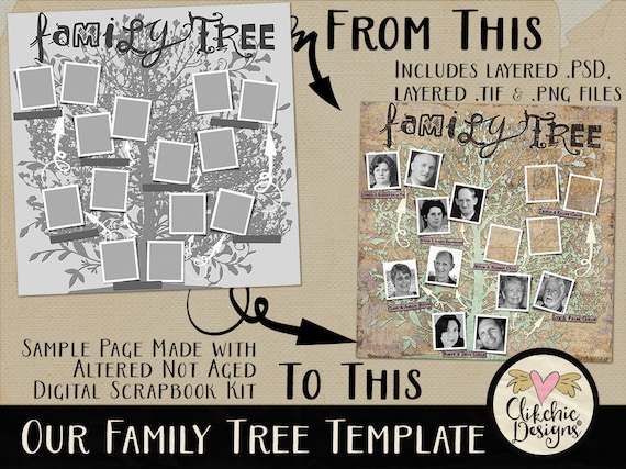 Family Tree Template Vintage Genealogy Template 12x12 Etsy