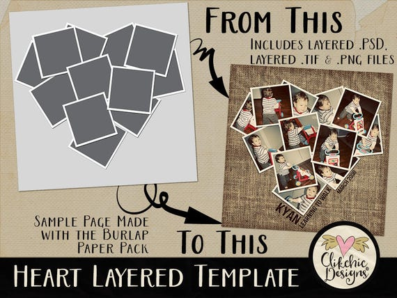 Layered Photoshop Template 12x12 Love Heart Layered Digital Scrapbook Template Digital Template Photography Template Photo Template