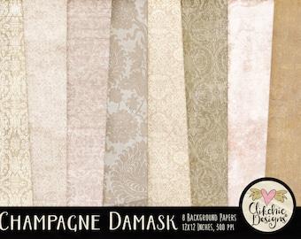 Wedding Damask Digital Paper Pack - Champagne Wedding Digital Scrapbook Paper Backgrounds