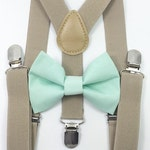 Tan suspenders and mint bow tie, bow tie, suspenders, boys suspenders, toddler suspenders and bow tie, toddler suspenders, bow ties
