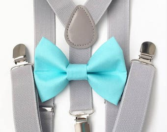 b954bf51ad90 Light gray suspenders and aqua bow tie set, bow tie, suspenders, boys  suspenders, toddler bow tie, toddler suspenders, bow ties
