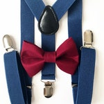Navy blue Suspenders. burgundy bow tie, bow tie, suspenders, boys suspenders,toddler suspenders and bow tie, toddler suspenders, bow ties