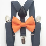 FREE DOMESTIC SHIPPING! Dark gray suspenders  + Orange Bow tie toddler kids boy boys Adult holidays photos family photoshoot