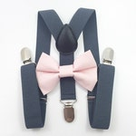FREE DOMESTIC SHIPPING! Dark gray suspenders  + light pink Bow tie toddler kids boy boys Adult holidays photos family photoshoot