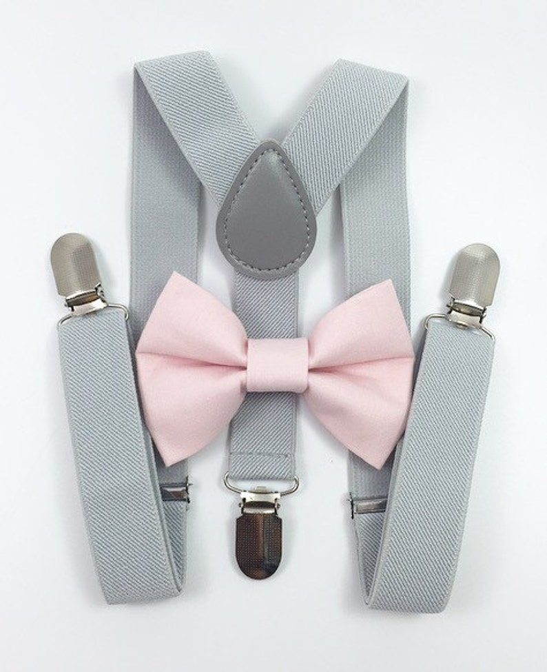 Light gray suspenders and light pink bow tie bow tie image 0